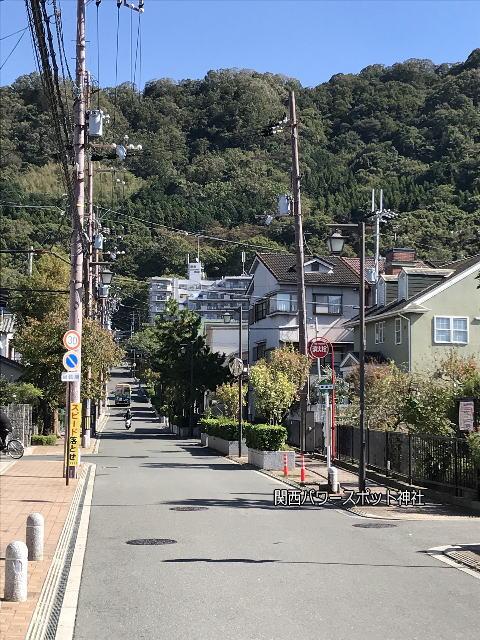 四条畷神社の参道。山と坂道が続く。