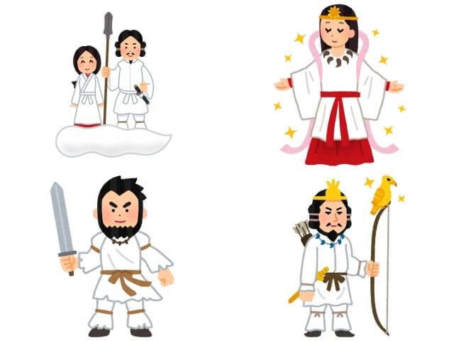 日本の神様(イザナギ、イザナミ、アマテラス、スサノオ、神武天皇)