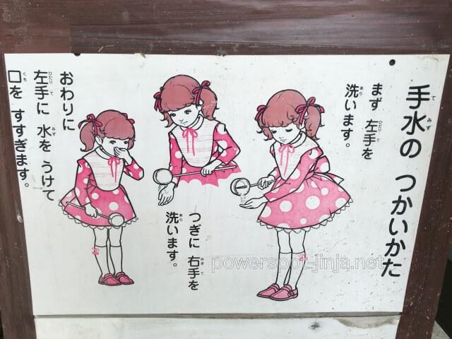 神社「手水の使い方」説明図