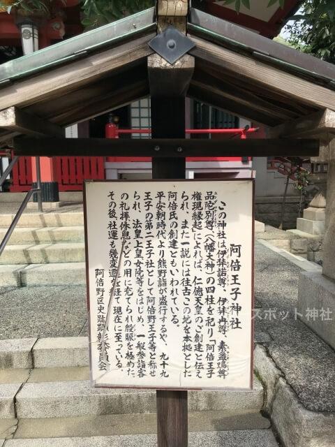 阿倍王子神社境内の説明板
