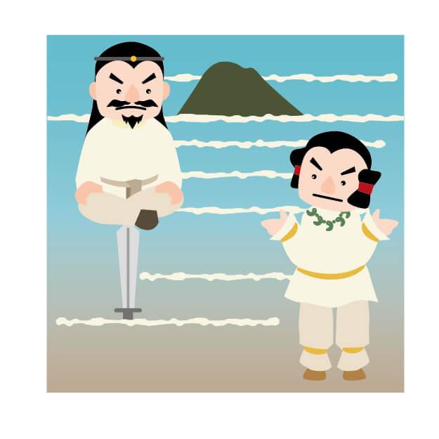 オオクニヌシの国譲り。武御雷神(タケミカヅチノカミ)は十束剣(=十拳剣・とつかのつるぎ)の刃先に座った様子